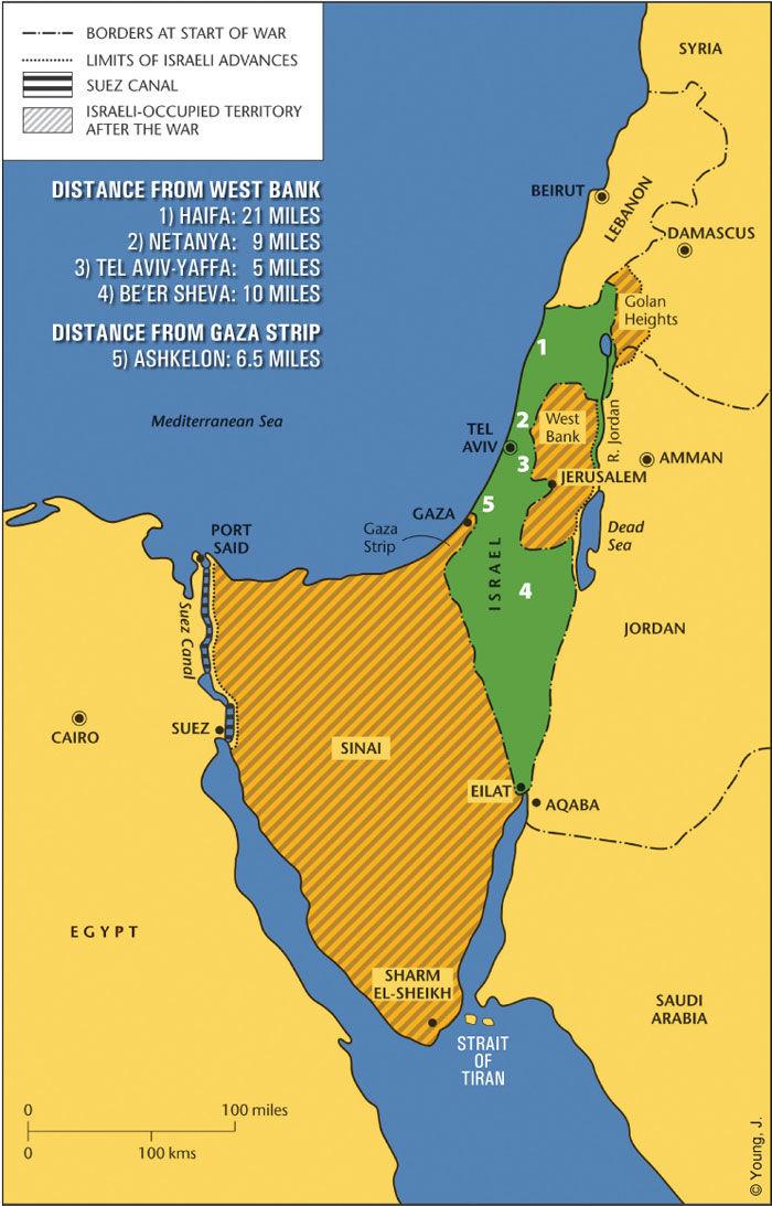 Israel map: 67 borders and distances