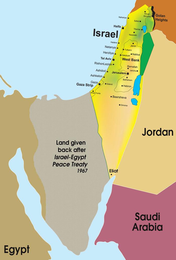 Simple map of Israel