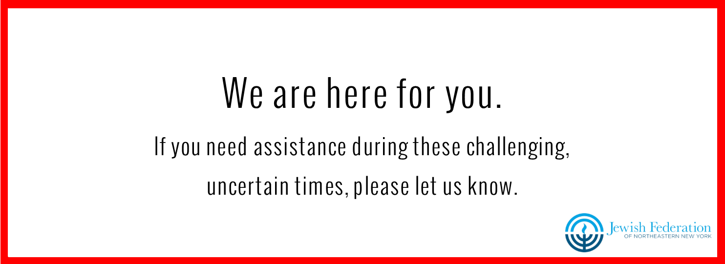 """Image with text """"We are here for you. If you need assistance during these challenging, uncertain times, please let us know."""""""
