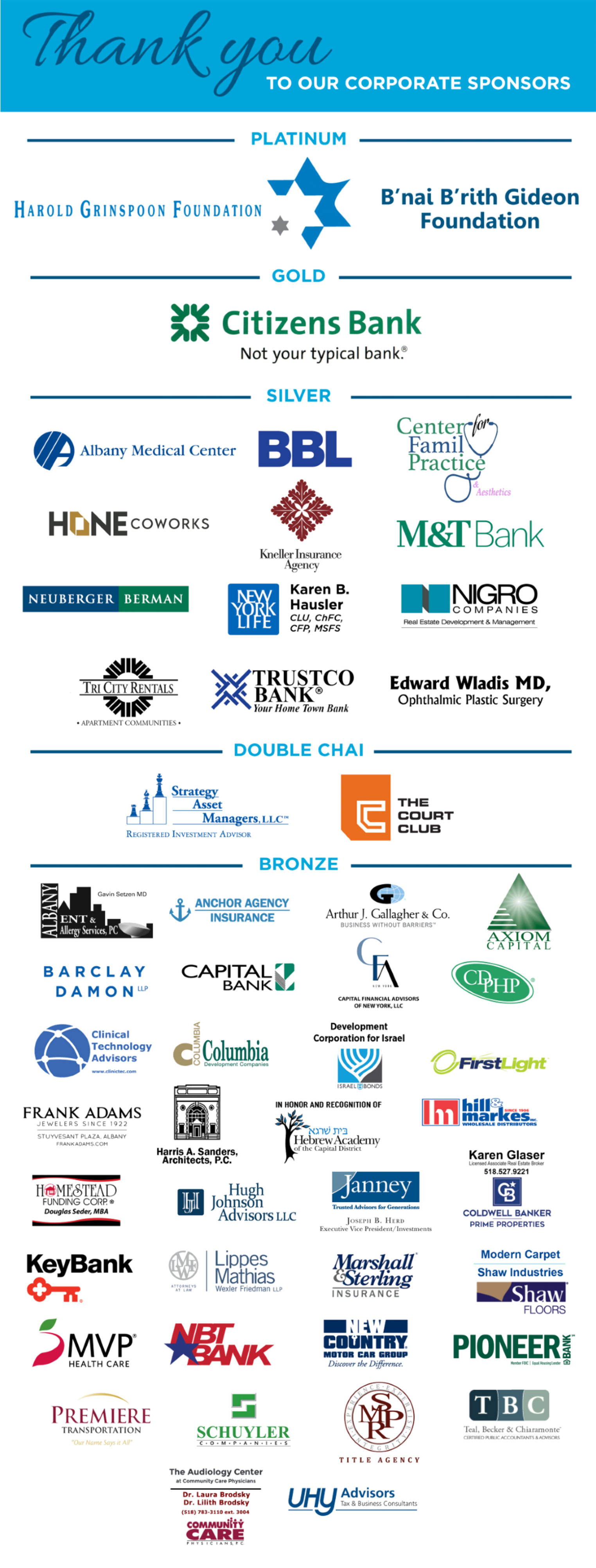 Listing of all Corporate Sponsors for Jewish Federation of Northeastern New York