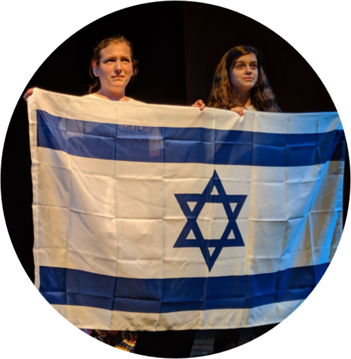 Two young adults holding the Israeli flag