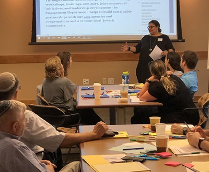 KB Goodkin teaching at a leadership training at Jewish Federation
