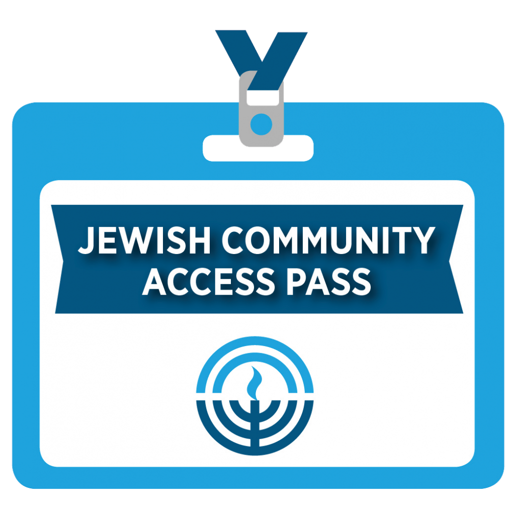 Cartoon badge for Jewish Community Access Pass