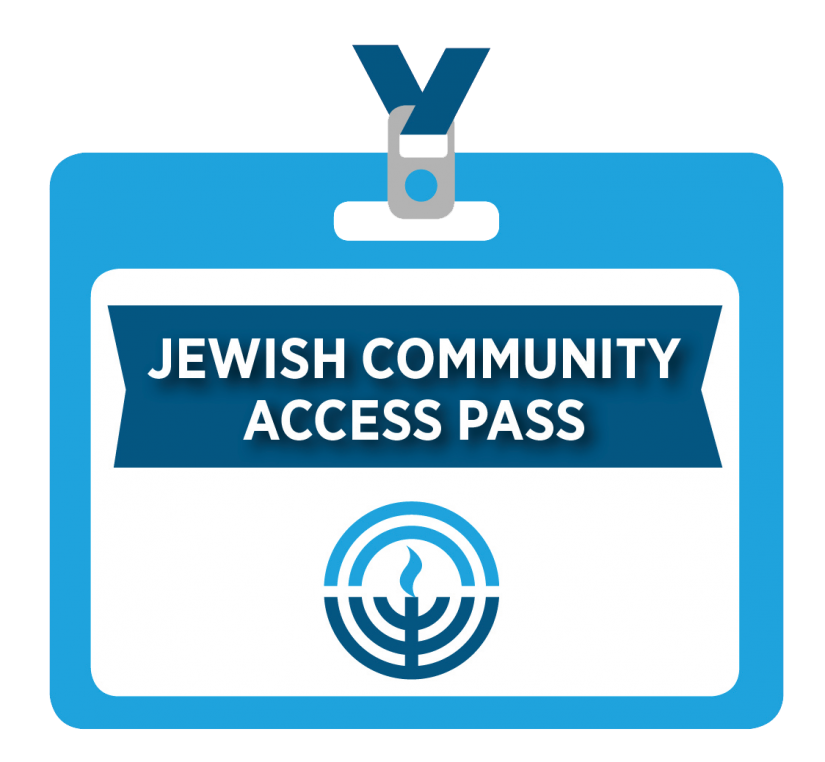 Cartoon badge for Jewish Community Access Pass