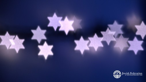 Stars of David across a blue purple background with Jewish Federation logo