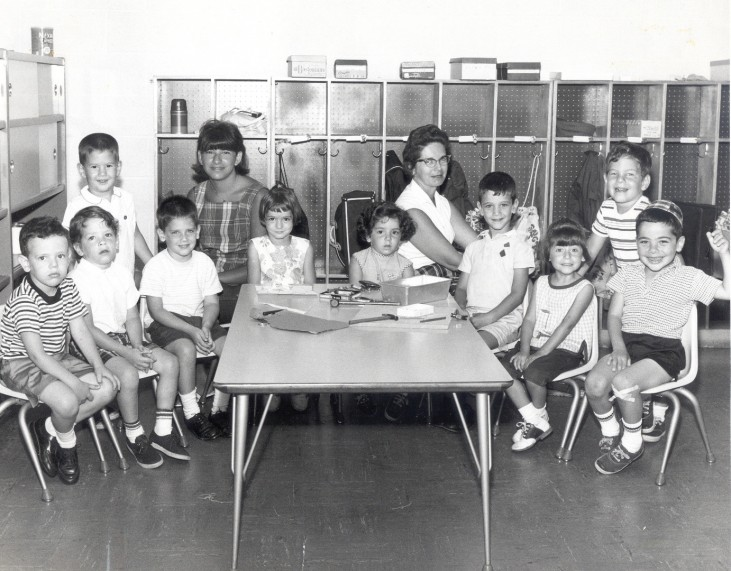 A historical photo with two female teachers and boys and girls at a Jewish preschool in Cincinnati