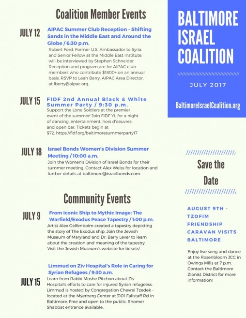 Monthly Newsletter | Baltimore Israel Coalition