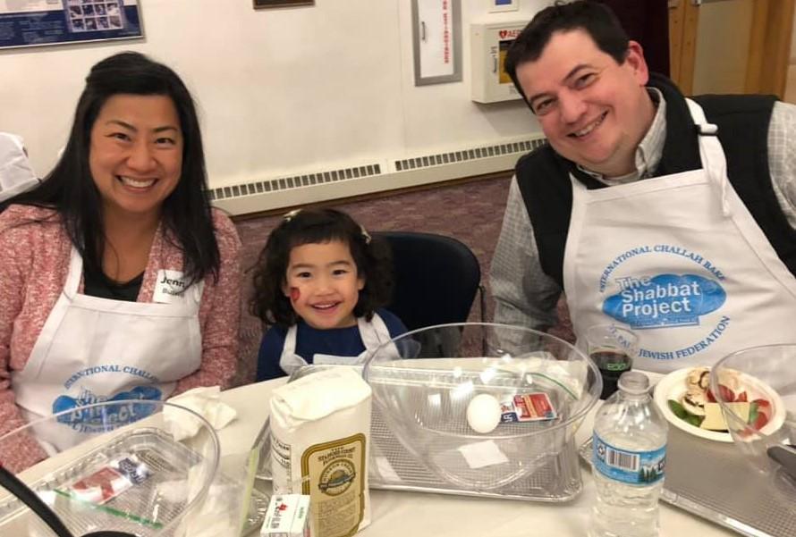 Jenifer, Avi and Jeff at the Great Big St. Paul Challah Bake
