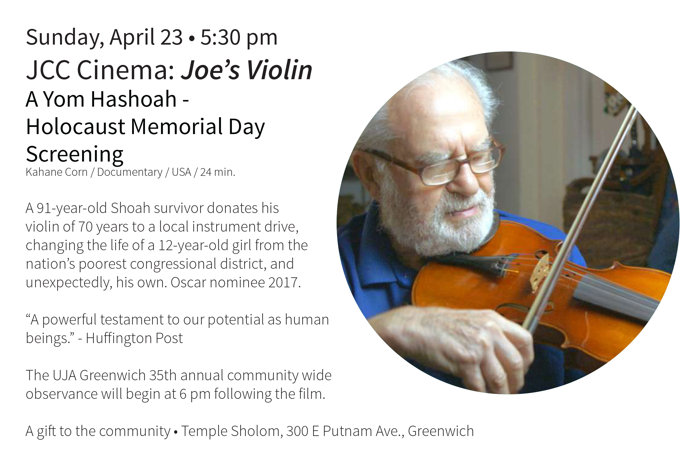 Joe's Violin Holocaust Memorial Day Screening