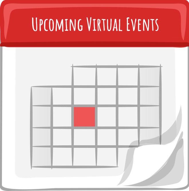 Cartoon calendar titled Upcoming Virtual Events