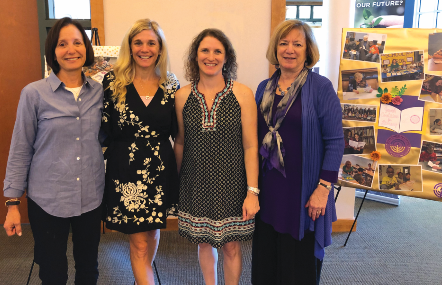 Lauren Iselin, Robyn Easton, Shelly Shapiro, and a guest speaker smiling for a picture