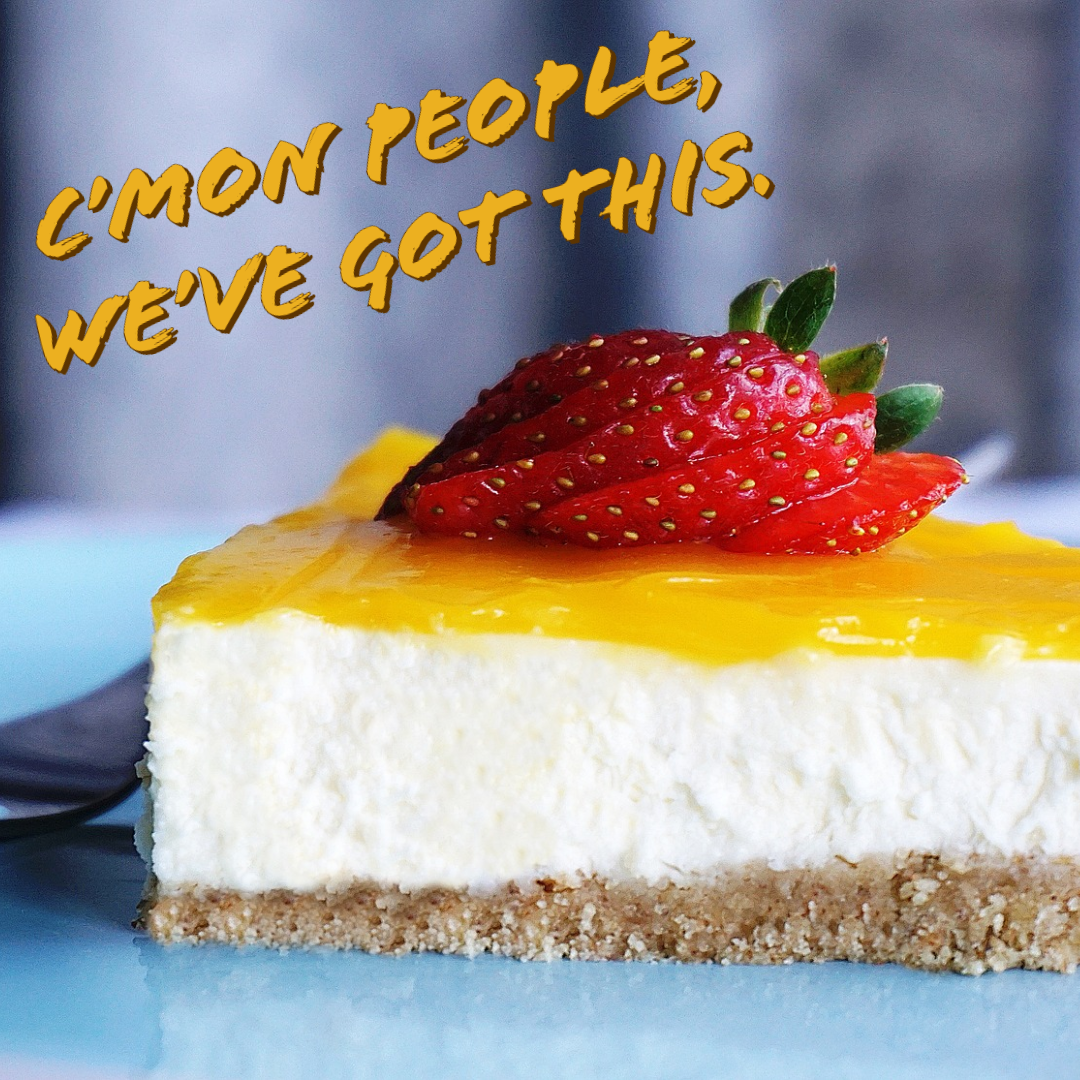 Slice of cheesecake with strawberries on top, writing on image