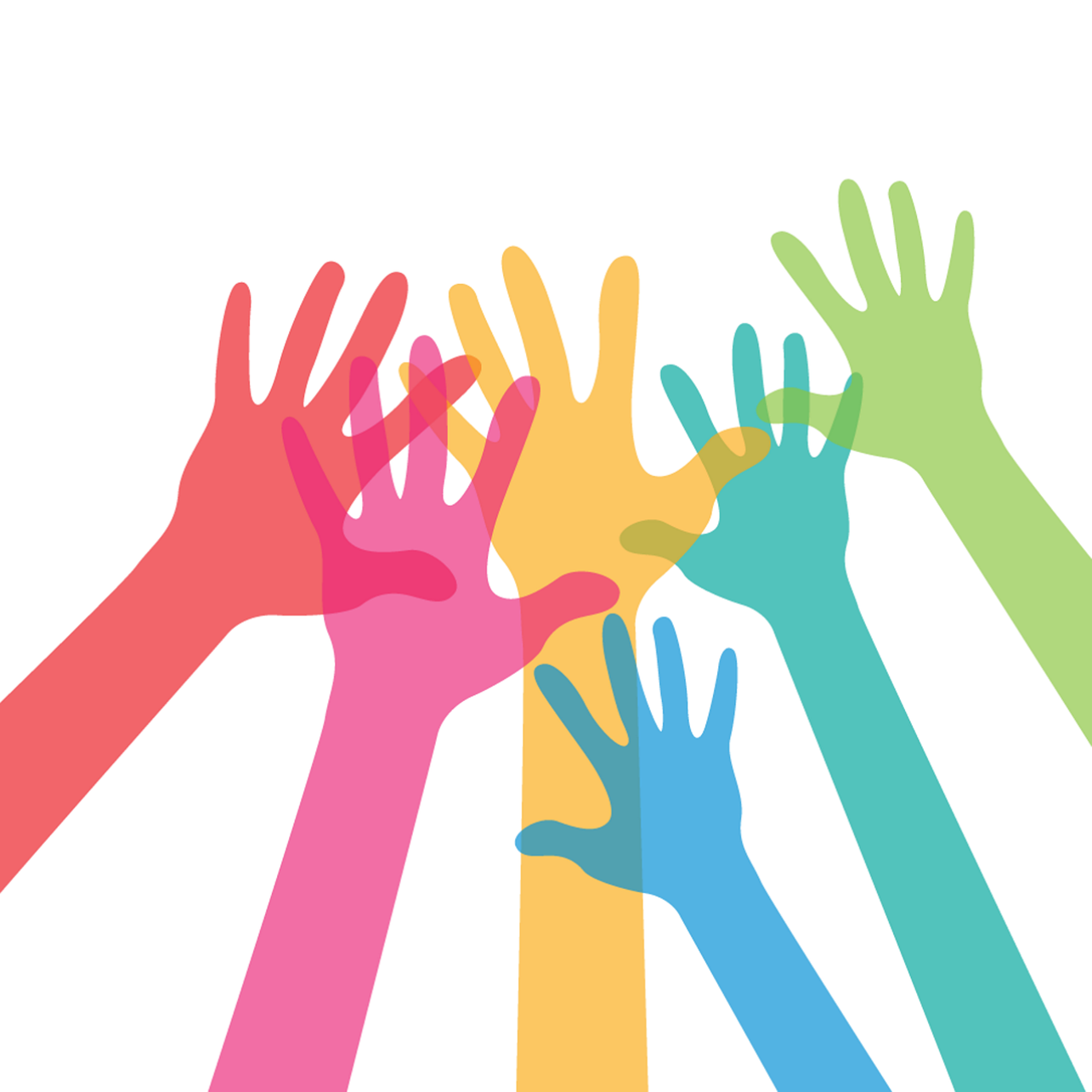 group of different color cartoon hands reaching up