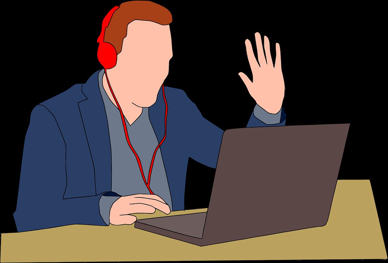 cartoon man with headphones on waving at his laptop