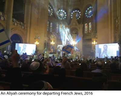 an Aliyah ceremony for departing French Jews, 2016