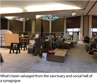 What's been salvaged from the sanctuary and social hall of a synagogue