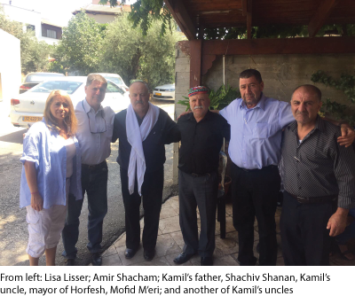 From left: Lisa Lisser; Amir Shacham; Kamil's father, Shachiv Shanan, Kamil's uncle, mayor of Horfesh, Mofid M'eri; and another of Kamil's uncles
