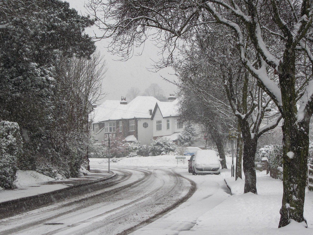 snowy street and houses