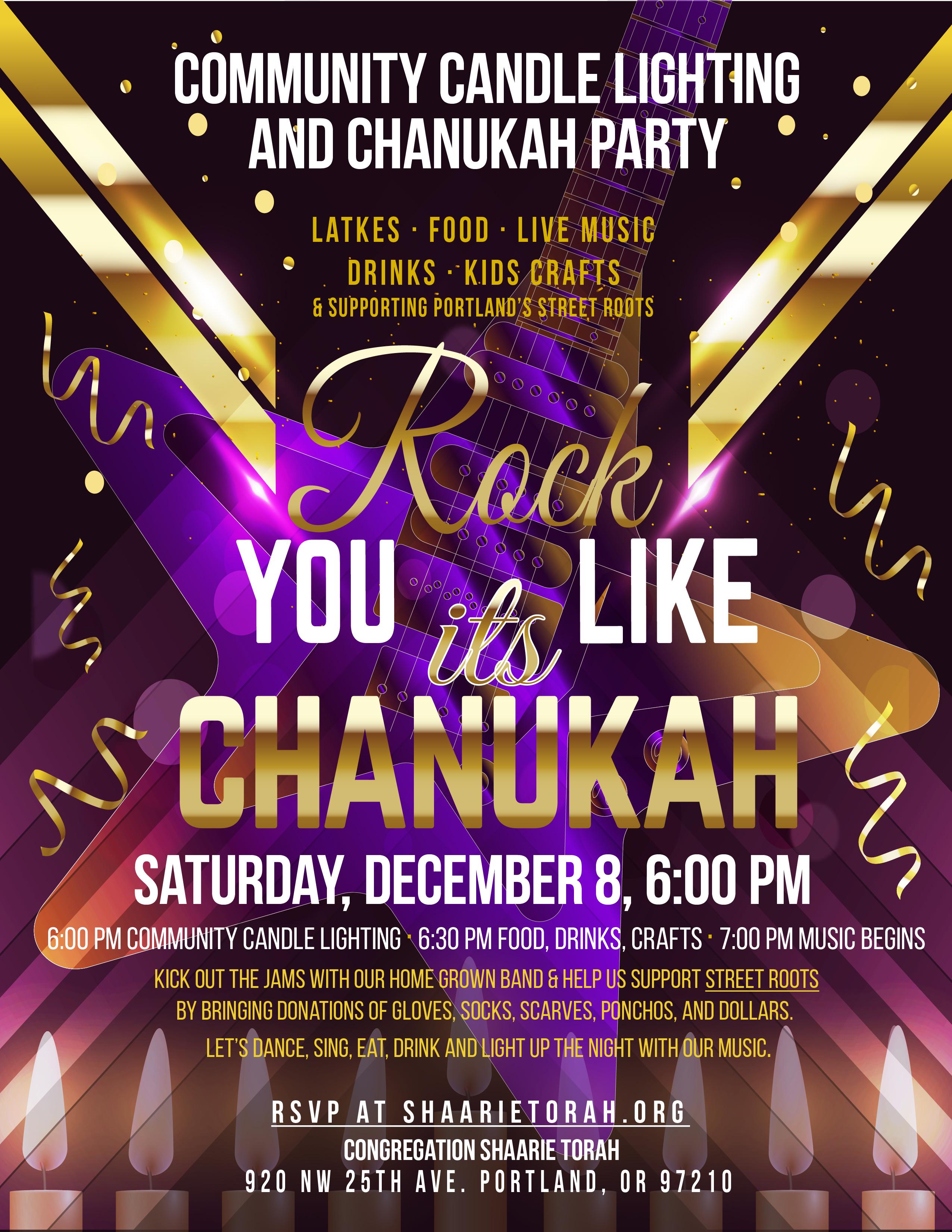 Chanukah Party Shaarie Torah Public Candle Lighting