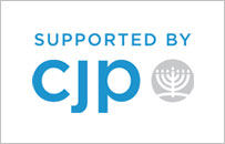 "CJP logo: ""Supported by CJP"" with a small menorah"
