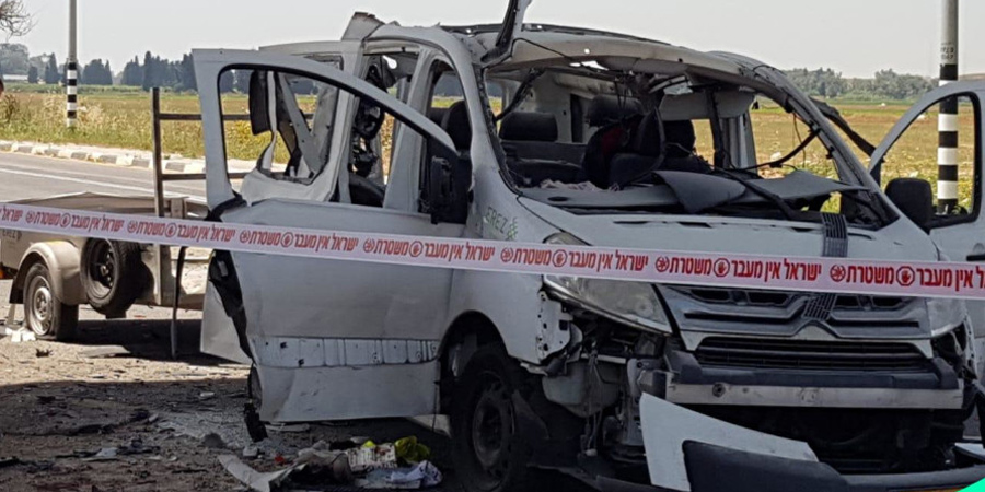 A vehicle that sustained a direct hit from a rocket near Yad Mordechai in southern Israel. (photo credit: POLICE SPOKESPERSON'S UNIT)