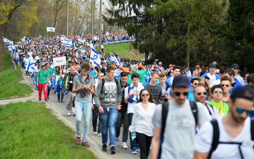 Participants in the March of the Living walking from Auschwitz to Birkenau, April 16, 2015.