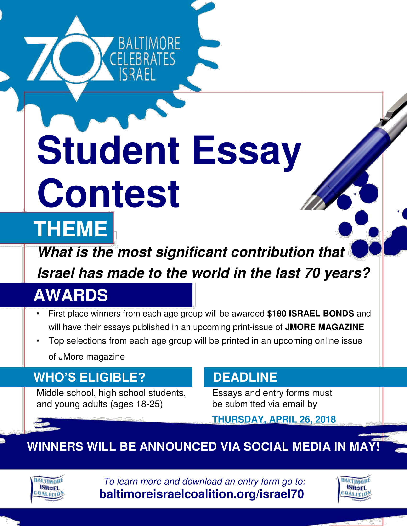 Proposal Essay Format To Be Considered For This Contest Essays Must Be Received By April    A Completed Entry Form Must Accompany Every Submission Reflection Paper Essay also Persuasive Essay Topics High School Students  Essay Contest Celebrating Israel  Baltimore Israel Coalition How To Make A Thesis Statement For An Essay