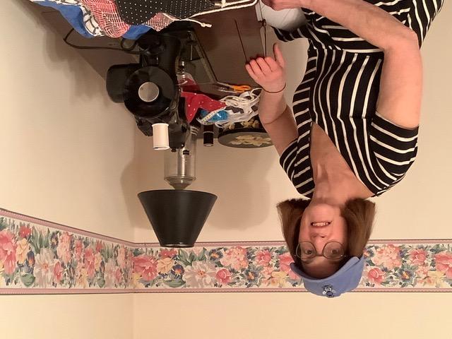 Linda Schultz at her sewing machine