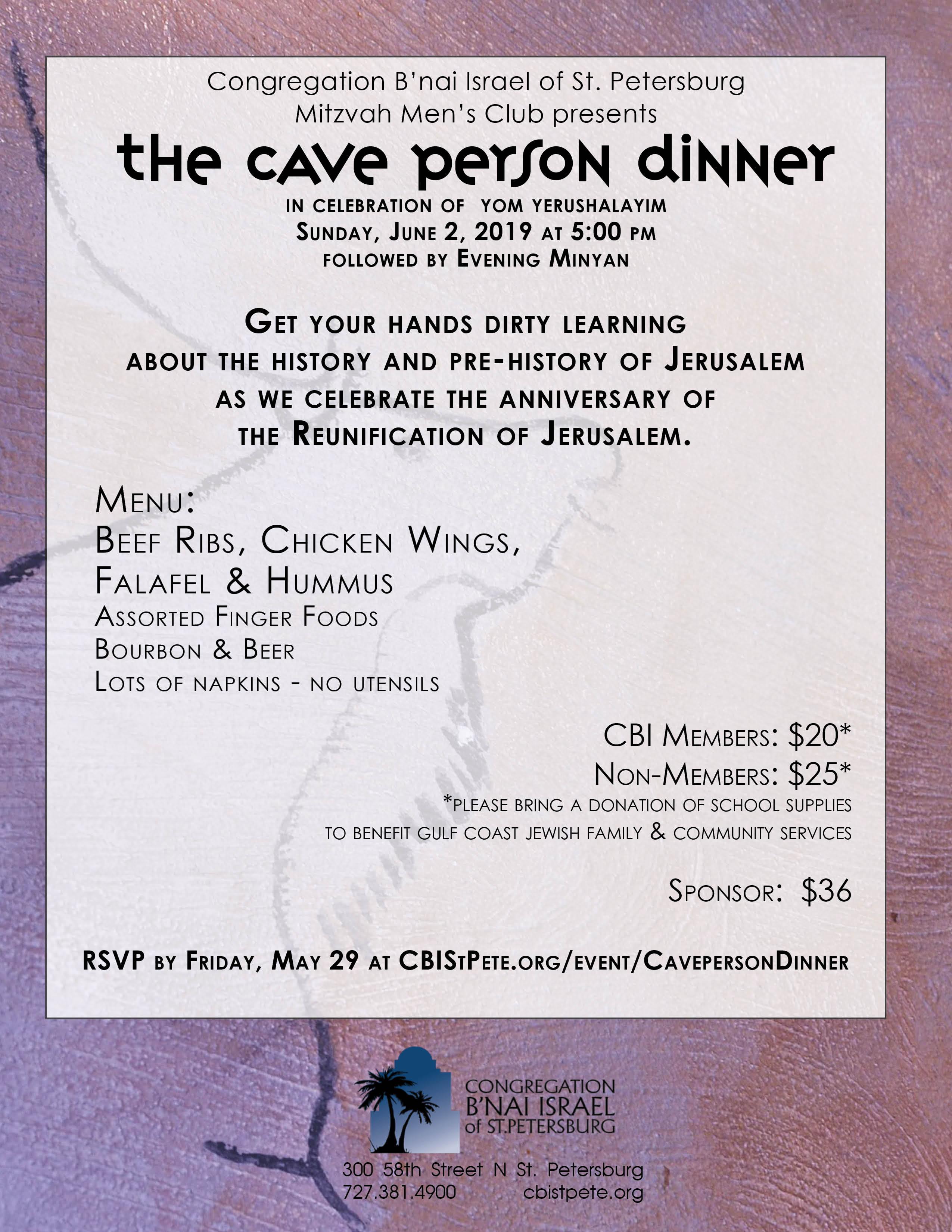 CBI Cave Person Dinner | Jewish Federation of Florida's Gulf Coast