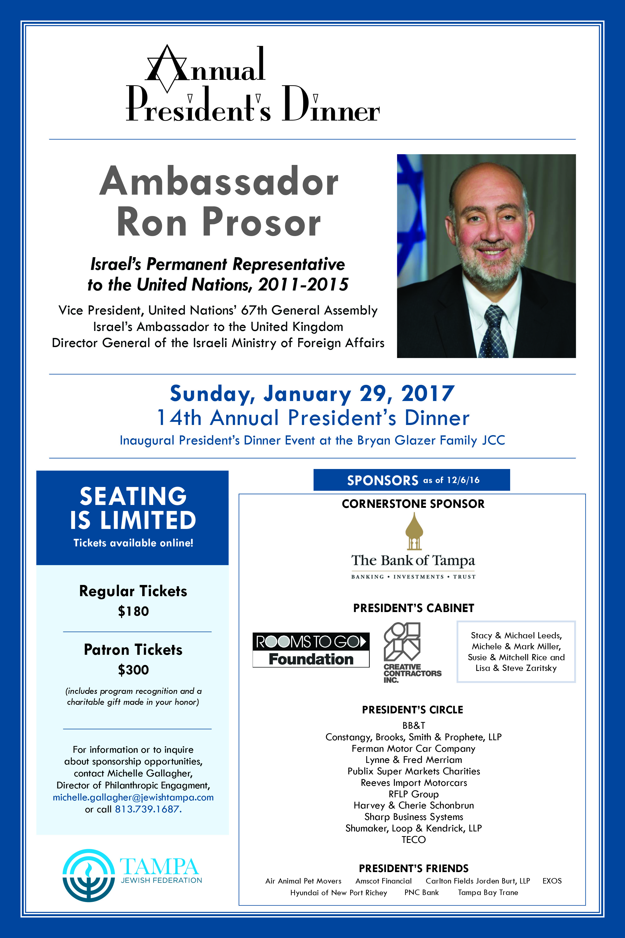 annual president s dinner tampa jewish federation