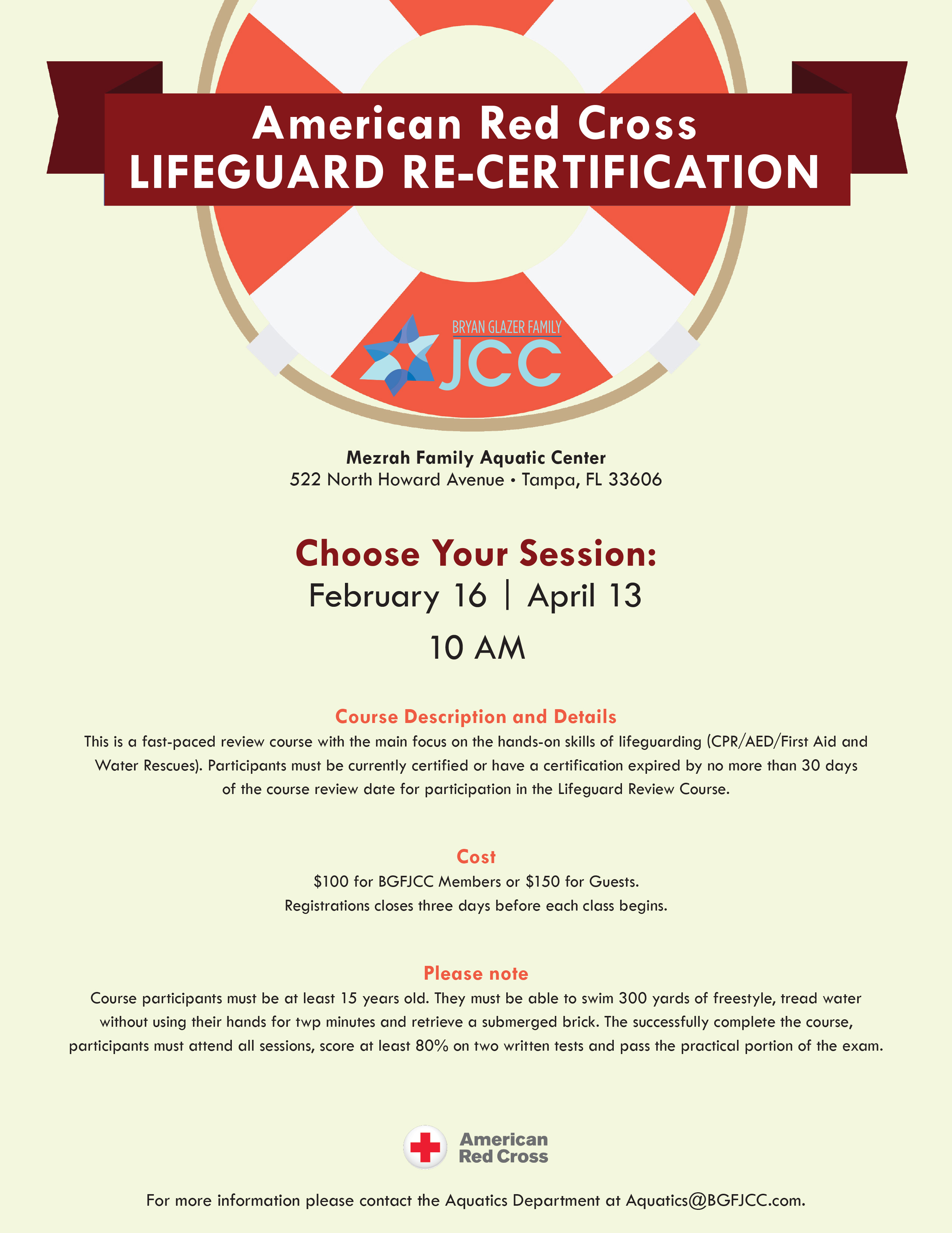 American Red Cross Lifeguard Re Certification Training In Tampa At