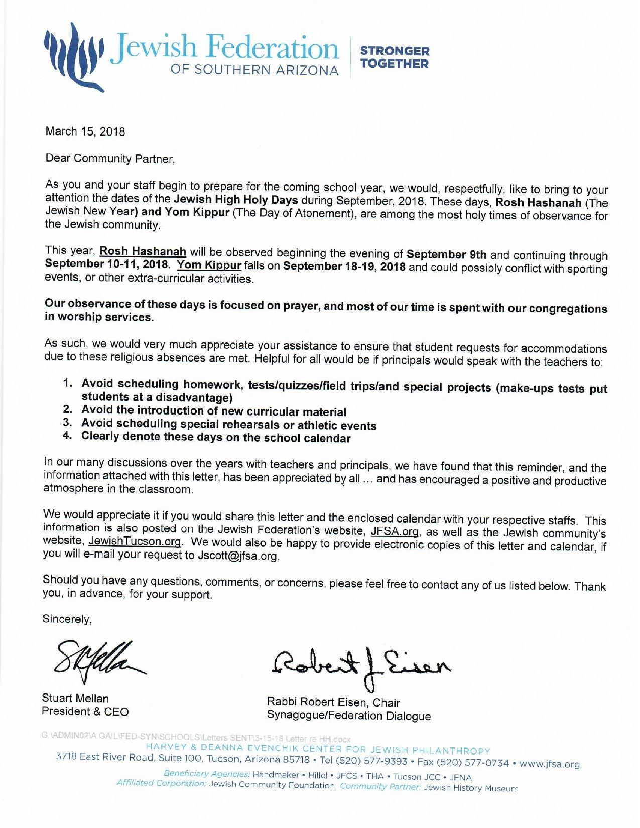 Five Year Calendar Jewish Federation Of Southern Arizona