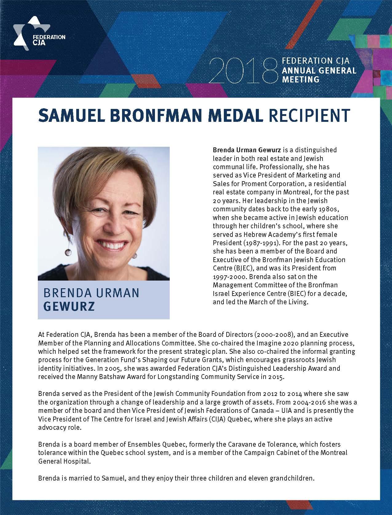 Brenda Gewurz is Recipient of Samuel Bronfman Medal | Jewish